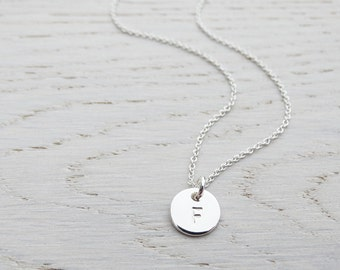 Tiny Silver Circle Necklace With Initial - Sterling Silver