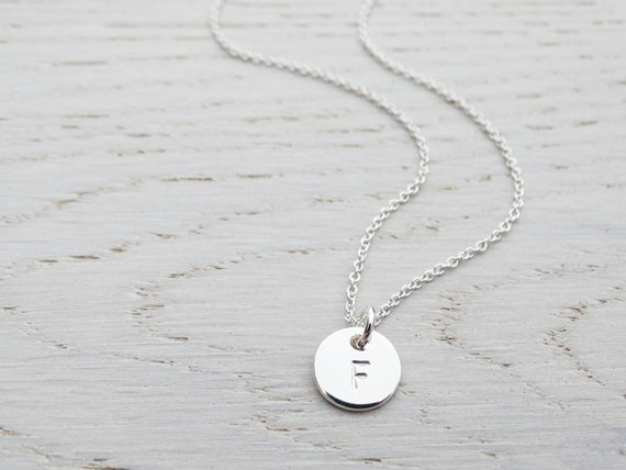Tiny Silver Circle Necklace With Initial, Sterling Silver