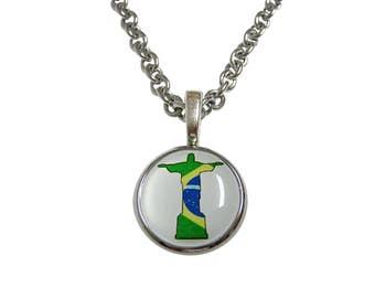 Bandera de Brasil Cristo Redentor Rio estatua colgante collar