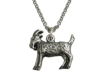 Silver Toned Textured Goat Pendant Necklace
