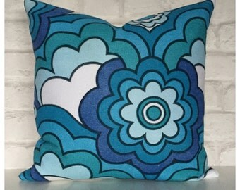"Vintage 70s Blue Psychedelic Fabric 16"" x 16"" Retro Throw Pillow"