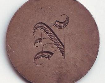Love Token Silver US Quarter Dollar Victorian Victoriana Exonumia N Hand Engraved