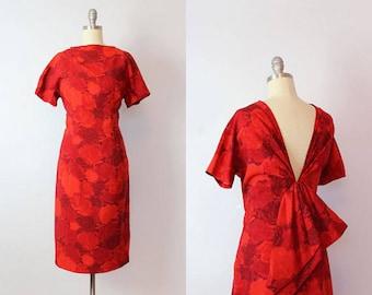 vintage 50s dress / 1950s SUZY PERETTE dress / dark red floral dress / rose print wiggle dress / open back bow dress / designer 50s dress
