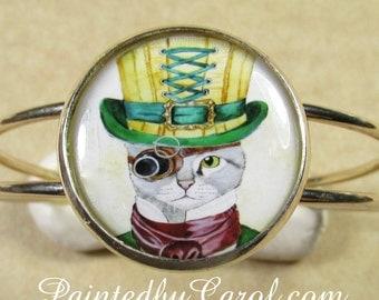 Steampunk Cat Bracelet, Steampunk Cuff Bracelet, Cat Cuff Bracelet, Steampunk Jewelry, Cat Jewelry, Steampunk Gifts, Cat Gifts