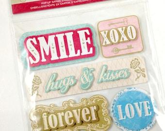 DCWV Be Mine Pop Up Stickers-Glitter Stickers-3D Stickers-Scrapbook Stickers-Shabby Stickers-Card Embellishment-Destash Stickers-Shabby Pink
