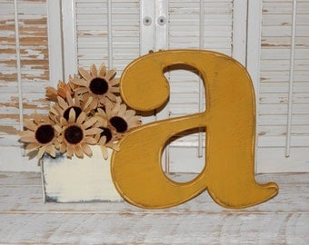 Distressed Wooden Letter a Wall Decor / Wedding Decor Lowercase Wood Letters