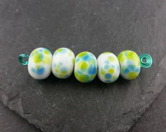 Set 5 turquoise and green beads | Handmade lampwork glass
