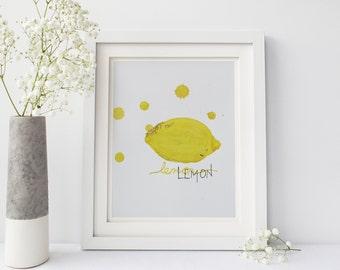 Printable: Lemon Watercolor, Kitchen Art, Watercolor Print, Digital Download Print, Kitchen Print