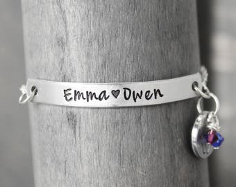 Mother Bracelet, Charm Bracelet, Baby Birth Bracelet, Custom Bracelet, Personalized Jewelry, New Mommy Bracelet, Handstamped Jewelry,