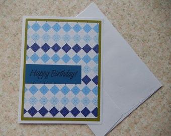 Birthday card - blues and argyle