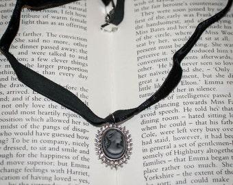 Jane Austen/ Georgian Regency Style Cameo Necklace: Black on Black