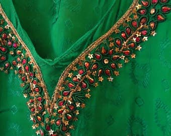 Vintage 1990s Green Boho Afghan Embellish Dress