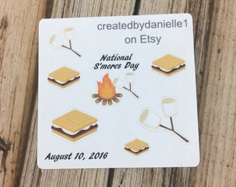 National S'mores Day Planner Sample Stickers, Camping Planner Stickers, Summer Planner Sticker, set of 7