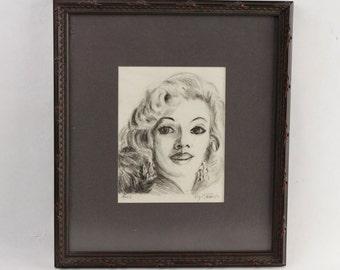 "Vtg 1957 Roy Fox ""April"" Original Charcoal Artwork Wood Framed Wall Art"