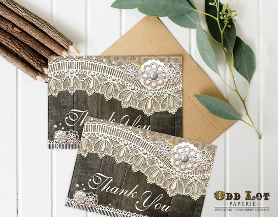 Rustic Thank You Card, Burlap and Lace, Printable Thank You Card, Wood Lace Thank You Cards, Instant Download, Digital Card, ~Wood Lace