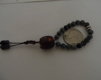 Mini Pocket Mala Prayer Beads with 18 Snowflake Obsidian Stones