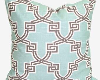 BLUE BROWN PILLOWS.16x16 inch.Decorative Pillow Cover.Housewares.Home Decor.Spa Blue Brown Pillow Cover.Pillow Cover.Pillow.Cushion
