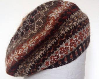 Fairisle beret handknitted in 100 per cent wool