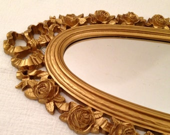 Vintage Syroco Hollywood Regency Gold Gilt Plastic MIRROR w ROSES & RIBBONS Tall Narrow