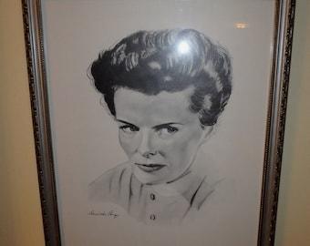 Katharine Hepburn Portrait Print By Artist David Alan Cooney