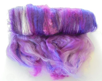 PURPLE HAZE - Art Batts, Batts for Spinning, Batts for Felting - Soft Luxury Art Batts, Merino Wool, Bamboo, Kid Mohair Locks, Roving