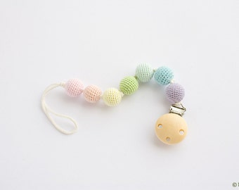 Pastel Rainbow Pacifier Clip - Pure Cotton, Wooden Beads - Dummy Chain - Paci Holder