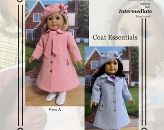 "PDF Pattern KDD09 ""Coat Essentials"" -An Original KeepersDollyDuds Design, makes 18"" Doll Clothes"