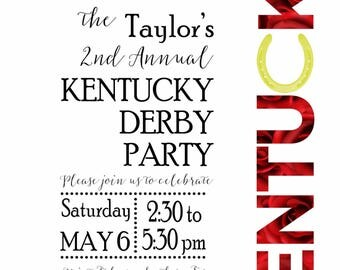 Kentucky Derby Party Invitations with Envelopes or Digital Download available