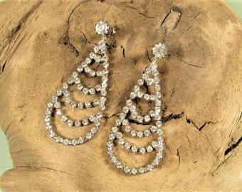 Crystal Teardrop Earrings - Vintage Clear Silver Tone Dangle Pierced
