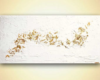 """Canvas Print 48""""x24"""" Stretched Ready-to-Hang  & Embellished  - Success - Art by Osnat"""