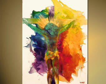 Jesus - Embellished Canvas Print - Stretched & Ready-to-Hang - Art by Osnat