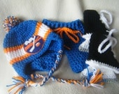 Crocheted Inspired New York Islanders Hat, Short Pants & Hockey Skates Booties Set These Are Made to Order