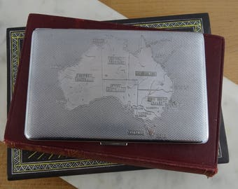 Vintage Mid Century Har Bro Cigarette Case, Map of Australia Design , Made in England, Art Deco Style Chrome Plated, 1940's