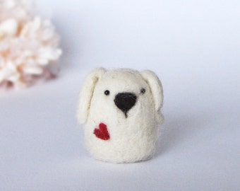 Needle Felted Dog with a heart