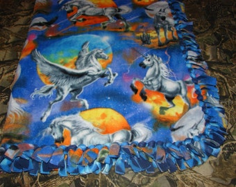 Fantasy Mystical Horses Unicorn Pegasus Double Sided No Sew Fleece Tied Blanket, equine western riding, infant blankets, horses animals
