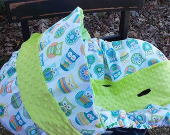 Crochet owl lime green minky universal baby infant car seat slip cover Graco evenflo baby trend chico