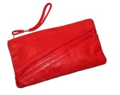 Vintage 70s 80s DEMURE Red Genuine Leather Clutch Bag