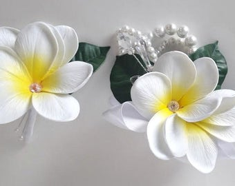 Choose your Colors- Set of Plumeria Wrist Corsage and Boutonniere- Real Touch Plumeria-  Prom- Wedding