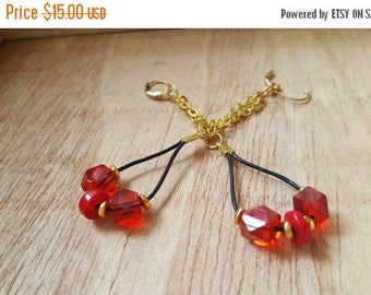 ON SALE Red and Gold Earrings - Long Earrings - Leather Earrings - Thank You Gift