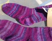 Purple rainbow socks size 3/4 or 36/37