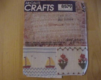 VINTAGE 1970s McCalls Crafts Pattern 8579, Smocking and Embroidered Transfers, Uncut, Flowers, Sailboats, Delicate Roses