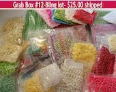 DESTASH,Grab Bag,satin ribbon bows,bling,pearl trim,pearl embellishments,decorative border,flower trim, enamel dots,packaging,decorations