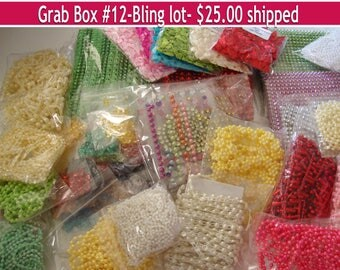 DESTASH,Grab Bag,satin ribbon bows,bling,pearl trim,pearl embellishments,decorative border,flower trim, enamel dots,packaging,decorations