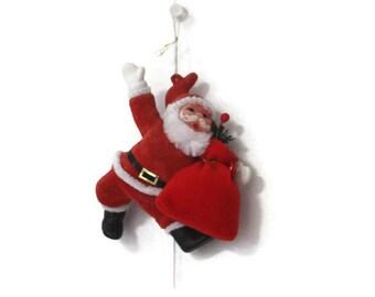 Vintage Flocked Santa Christmas Ornament, Vintage Santa, Retro Santa, Kitschmas, Kitschy Christmas, Flocked Santa