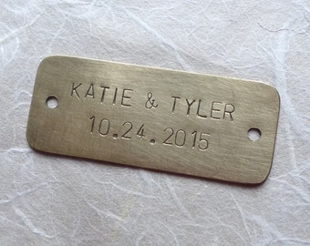 Personalized Name Tag (6 x 2.5 CM), Brass Nameplate or Copper, Hand Stamped Plate with Holes, 2 lines Arial Font Uppercase