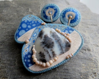 Winter in Fairy house, brooch + earrings