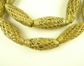 """28"""" matched strand handmade brass metal lost wax casting trade beads African"""