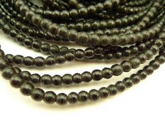 """24"""" strand matched 5 mm black prosser pressed glass African trade beads AA-0065"""