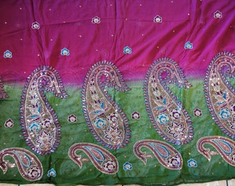 Shaded stole,Silk stole, Green and Magenta stole, Sequence dupatta, Purple dupatta,Holiday Gift,Mother's day gift, Neckerchief, Shawl,Odhani