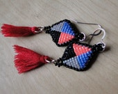 Beaded Earrings, Quadrant Diamond Designs in Periwinkle Blue, Neon Pink, and Black with tassels